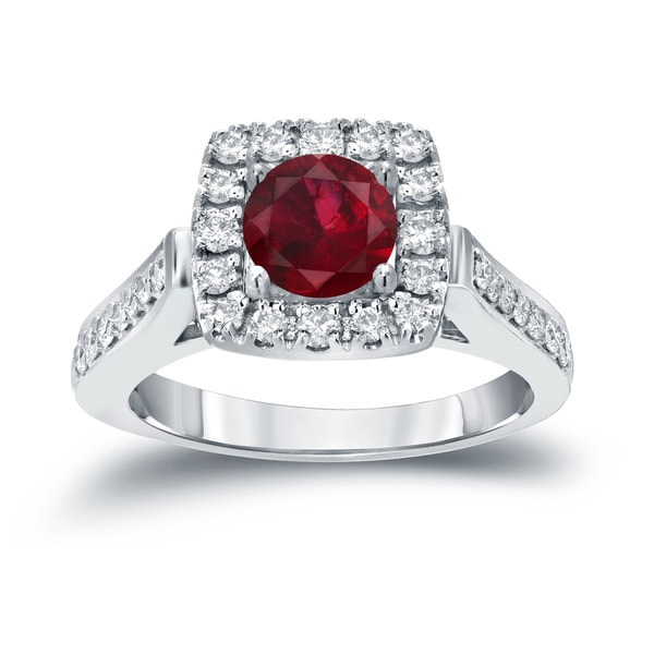 Auriya 14k Gold 1/5ct Ruby and 1/2ct TDW Round Diamond Halo Engagement Ring - Red