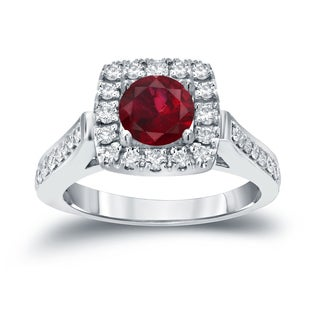 Auriya 14k Gold 1/5ct Ruby and 1/2ct TDW Round Diamond Halo Engagement Ring