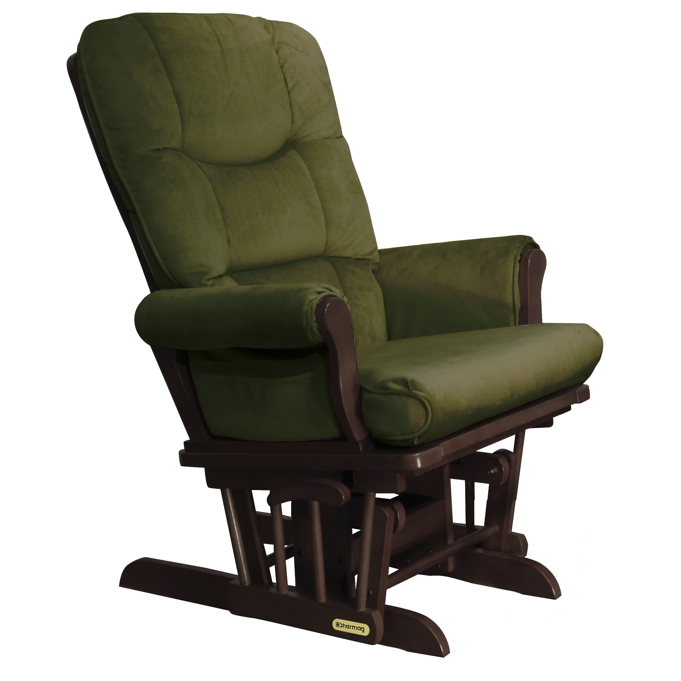 Shermag Espresso Wood Glider Recliner with Bella Moss Uph...