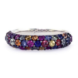 EFFY Sterling Silver Multi Color Sapphire Ring (Size 7)