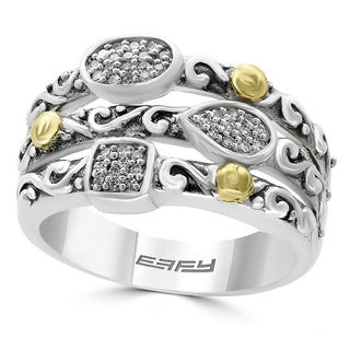 EFFY Final Call 925 Sterling Silver 18K Yellow Gold Diamond Ring (Size 7)