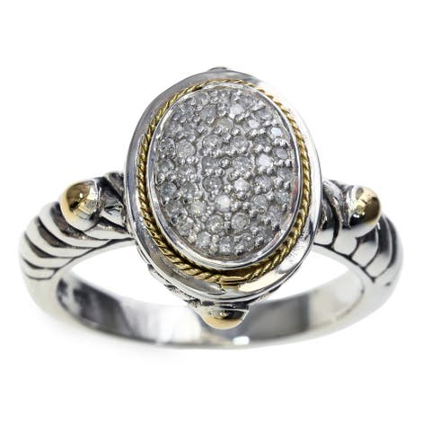 EFFY Final Call Sterling Silver 18K Yellow Gold Diamond Ring (Size 7)