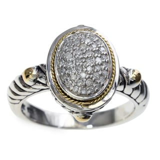EFFY 925 Sterling Silver 18K Yellow Gold Diamond Ring (Size 7)