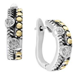 Effy 18k Yellow Gold and Sterling Silver 1/6ct TDW Diamond Earrings|https://ak1.ostkcdn.com/images/products/16849024/P23147979.jpg?impolicy=medium