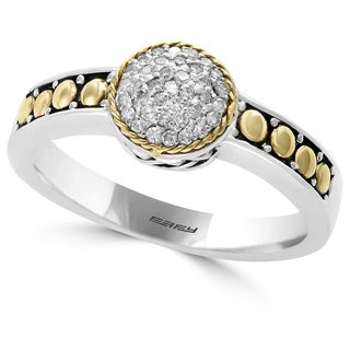 EFFY Final Call Sterling Silver 18k Yellow Gold 1/6ct TDW Diamond Ring