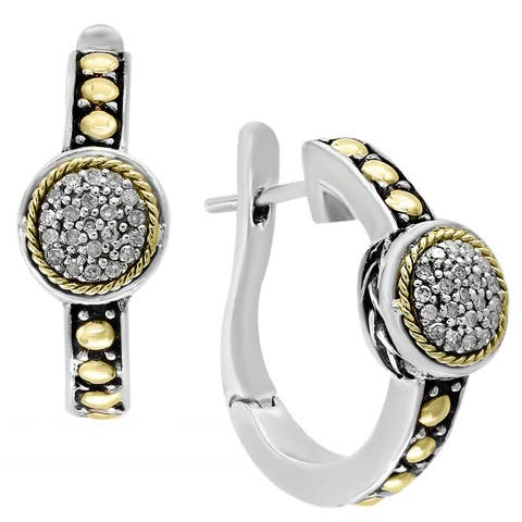 EFFY Final Call 18k Yellow Gold and Sterling Silver 1/5ct TDW Diamond Earrings