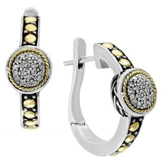 Effy 18k Yellow Gold and Sterling Silver 1/5ct TDW Diamond Earrings|https://ak1.ostkcdn.com/images/products/16849028/P23148023.jpg?impolicy=medium