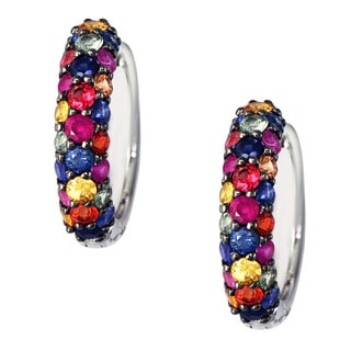 Sterling Silver Multi Color Sapphire Earrings