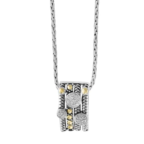 Effy Sterling Silver 18k Yellow Gold Diamond Pendant