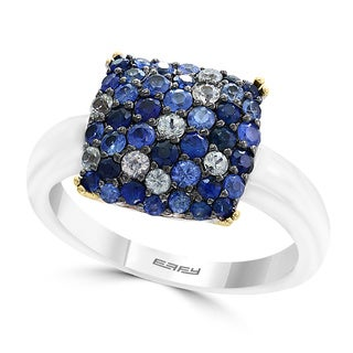 Effy 18k Yellow Gold/Sterling Silver Sapphire Cocktail Ring (Size 7)