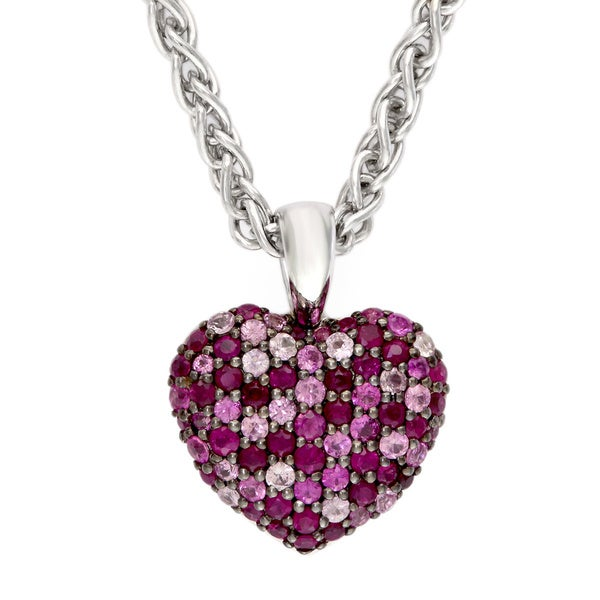 Shop Effy Sterling Silver Ruby Heart Pendant Necklace