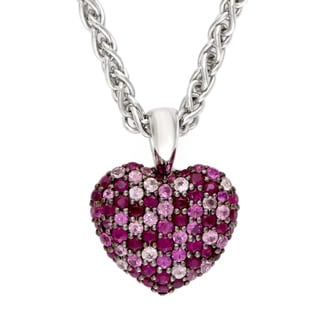EFFY 925 Sterling Silver Ruby Heart Pendant Necklace