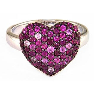 EFFY Sterling Silver Ruby And Multi Color Pink Sapphire Heart Ring (Size 7)