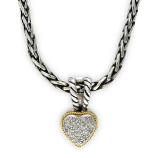 Effy 18k Yellow Gold and Sterling Silver 1/10ct TDW Diamond Heart Pendant|https://ak1.ostkcdn.com/images/products/16849036/P23148031.jpg?impolicy=medium