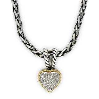 Effy 18k Yellow Gold and Sterling Silver 1/10ct TDW Diamond Heart Pendant