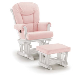 Shermag Pickwick Pink/White Wood Combo Glider and Ottoman