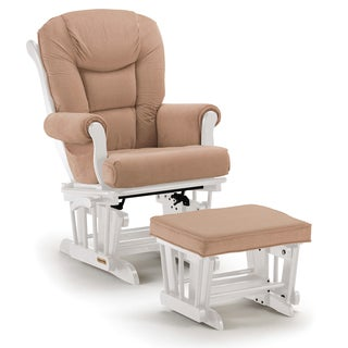 Shermag Beige/White Wood Combo Glider With Ottoman
