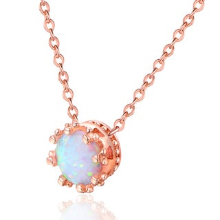 Rose Gold Plated & White Fire Opal Crown Necklace