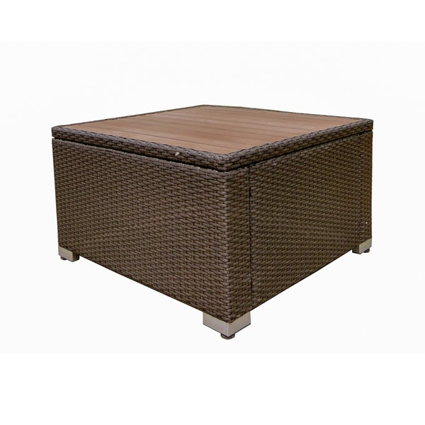 American Patio All Weather Wicker Espresso Modern Outdoor Square Coffee Table Free Shipping Today 16849091