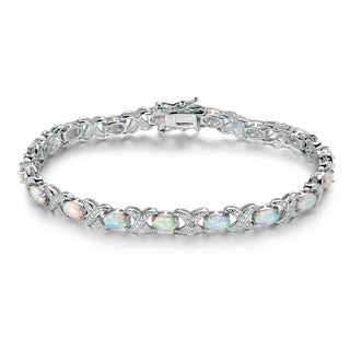 White Rhodium Plated Fire Opal Tennis Bracelet