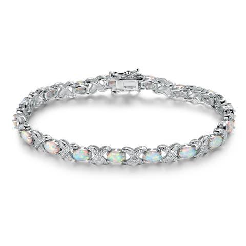 White Rhodium Plated Fire Opal Tennis Bracelet