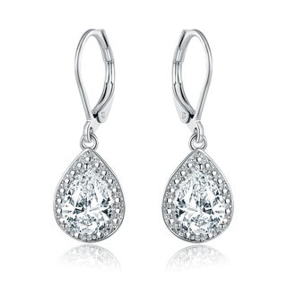 Gold Plated White Topaz & Diamond Accent Drop Earrings