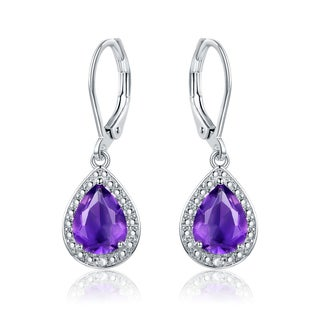 Gold Plated Amethyst & Diamond Accent Drop Earrings