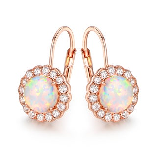 Rose Gold Plated White Fire Opal & Cubic Zirconia Flower Earrings