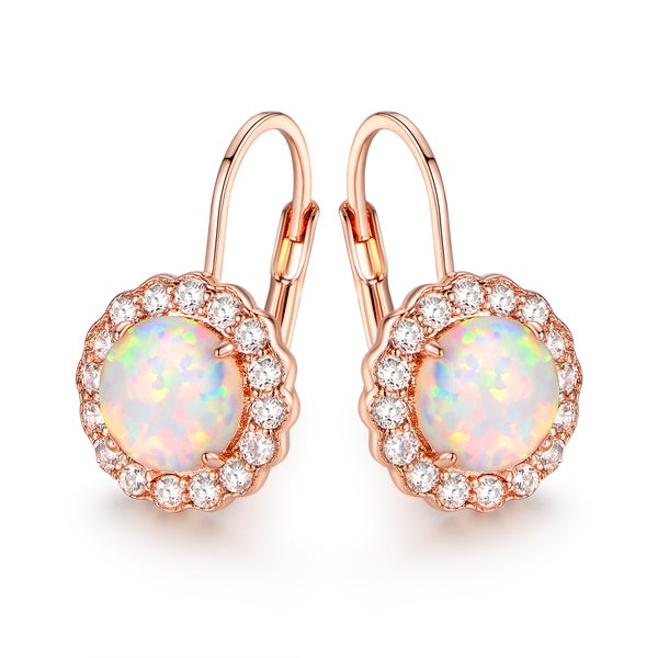 Rose Gold Plated White Fire Opal & Cubic Zirconia Flower Earrings