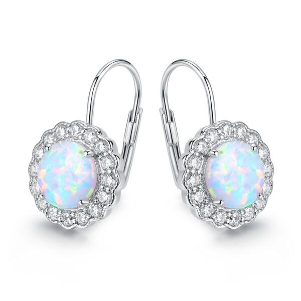 Gold Plated White Fire Opal & Cubic Zirconia Flower Hoop Earrings