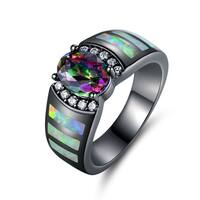 Black Rhodium Plated Mystic Topaz & Fire Opal Ring