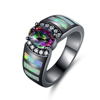 Black Rhodium Plated Mystic Topaz & Fire Opal Ring