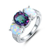 White Gold Plated Topaz Quartz & Opal Three Stone Ring