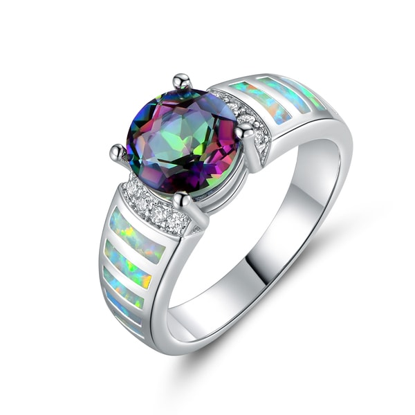 Gold Plated Mystic Topaz & Fire Opal Ring