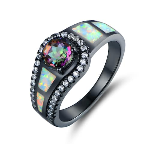 Black Rhodium Plated Topaz & Opal Cocktail Ring