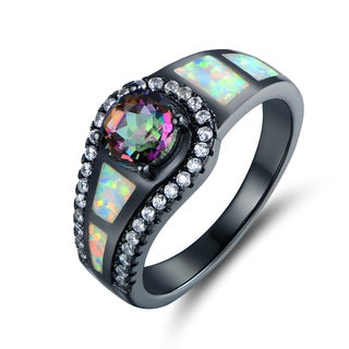 Black Rhodium Plated Topaz & Opal Cocktail Ring (More options available)