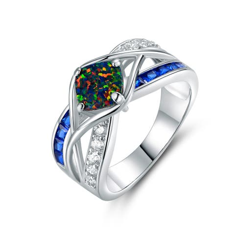 Gold Plated Sapphire Spinel & Black Opal Crisscross Engagement Ring