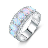 White Gold Plated Oval-Cut White Fire Opal & Cubic Zirconia Ring