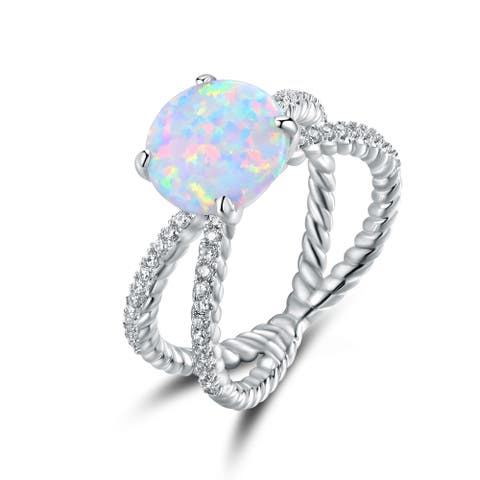 White Gold Plated Fire Opal & Cubic Zirconia Crisscross Braided Ring