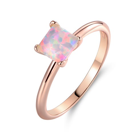 Rose Gold Plated Princess-Cut White Fire Opal Solitaire Engagement Ring