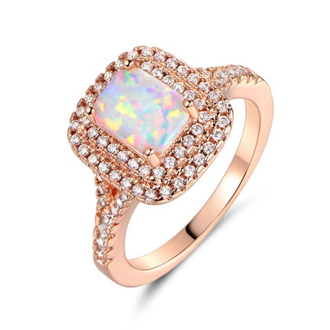 Rose Gold Plated Emerald-Cut White Fire Opal Engagement Ring - N/A