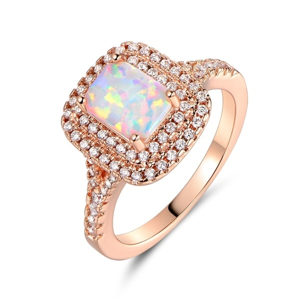 Engagement Rings Sale Price: Shop Rose Gold Plated Emerald-Cut White Fire Opal