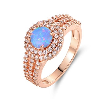 Rose Gold Plated White Fire Opal & Cubic Zirconia Ring (More options available)