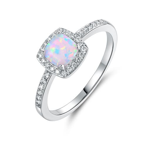 White Gold Plated Fire Opal & Cubic Zirconia Ring