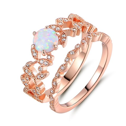 Rose Gold Plated Fire Opal & Cubic Zirconia Bridal Ring Set - N/A