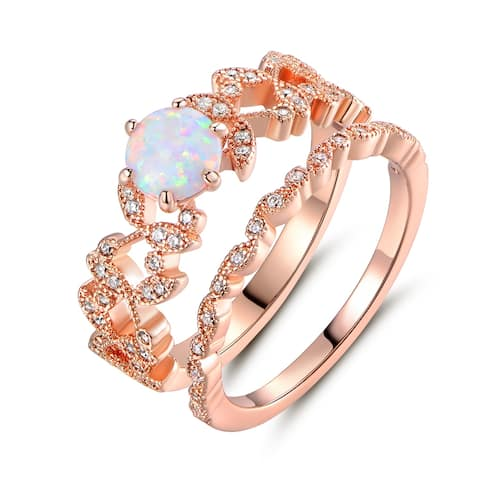 Rose Gold Plated Fire Opal & Cubic Zirconia Bridal Ring Set