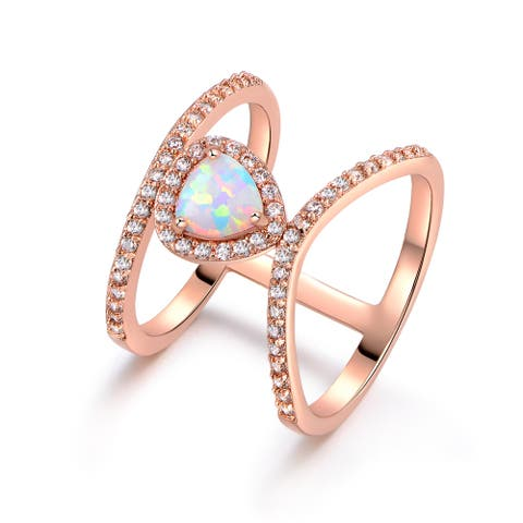 Rose Gold Plated Cubic Zirconia & White Fire Opal Statement Cuff Ring