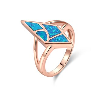 Rose Gold Plated Blue Opal Statement Ring