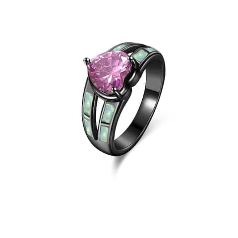 Black Rhodium Plated Fire Opal & Heart-Cut Pink Cubic Zirconia Ring