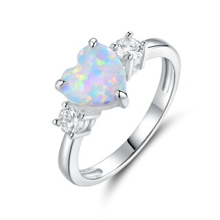 White Gold Plated Fire Opal & Heart-Cut Cubic Zirconia Ring (4 options available)